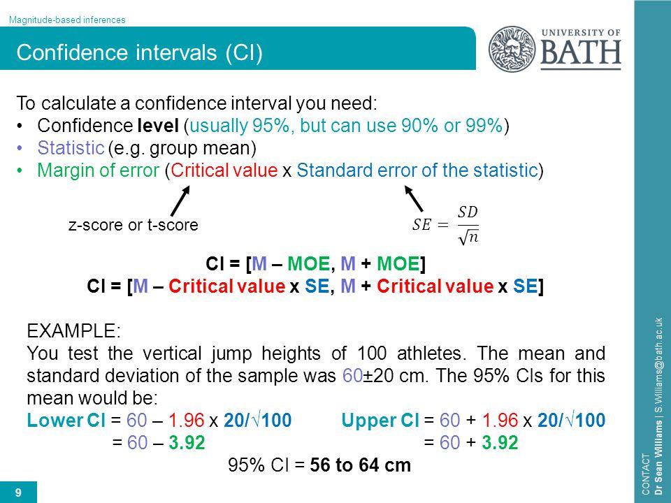 CI = [M – Critical value x SE, M + Critical value x SE]